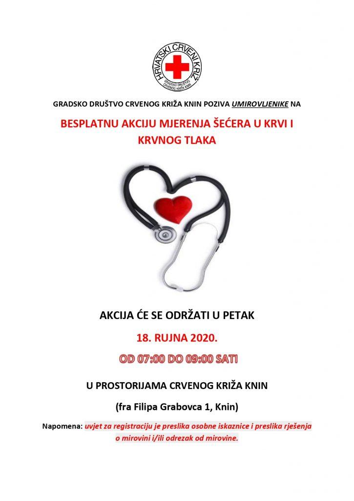 """Mjerenje šećera i krvnog tlaka u sklopu programa očuvanja i prevencije bolesti projekta """"Aktivni zajedno"""" UP.04.2.1.09.0005 (18.09.2020.)"""