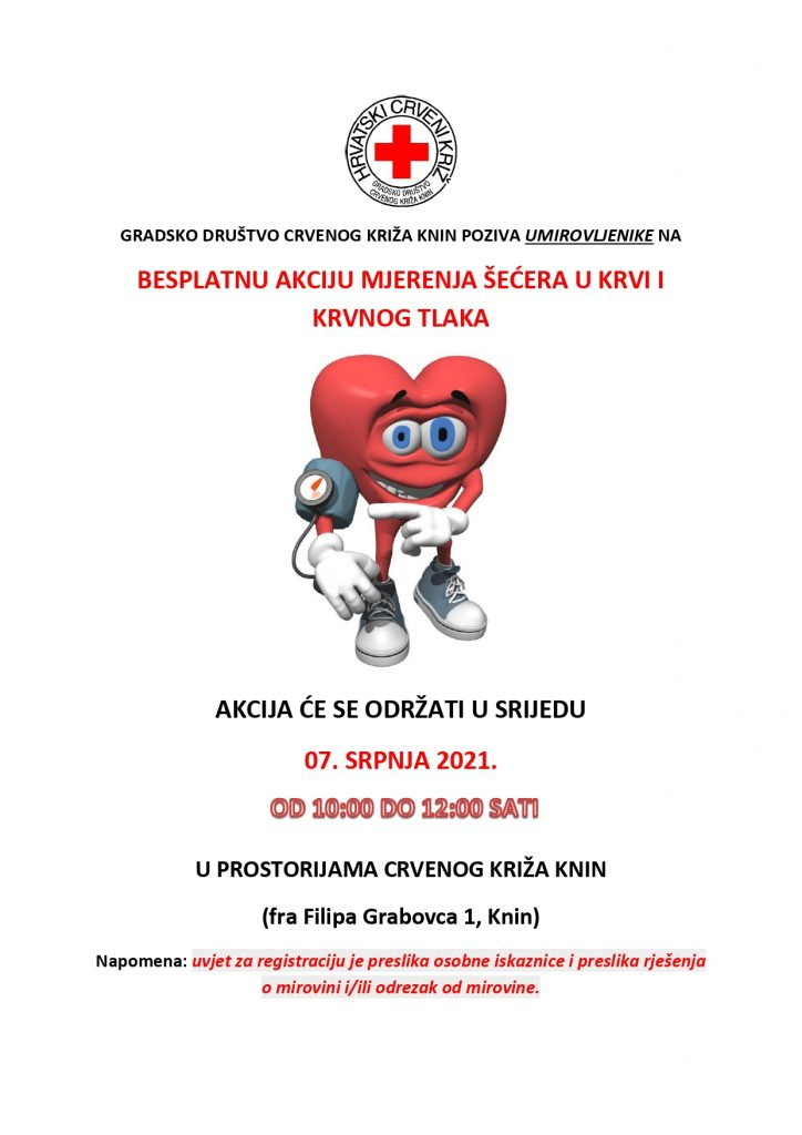 """Mjerenje šećera i krvnog tlaka u sklopu programa očuvanja i prevencije bolesti projekta """"Aktivni zajedno"""" UP.04.2.1.09.0005 (07.07.2021.)"""