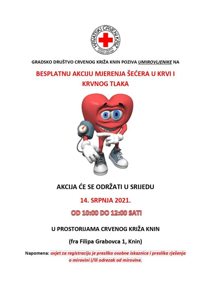 """Mjerenje šećera i krvnog tlaka u sklopu programa očuvanja i prevencije bolesti projekta """"Aktivni zajedno"""" UP.04.2.1.09.0005 (14.07.2021.)"""