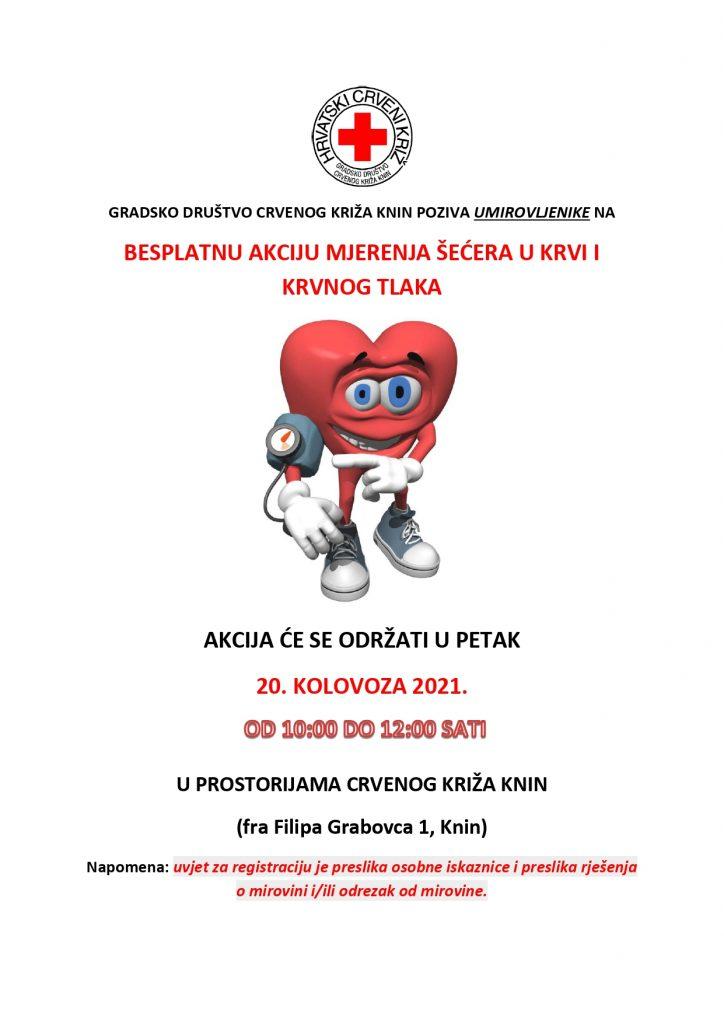 """Mjerenje šećera i krvnog tlaka u sklopu programa očuvanja i prevencije bolesti projekta """"Aktivni zajedno"""" UP.04.2.1.09.0005 (20.08.2021.)"""